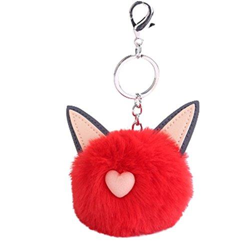 Cute Cat Ohren Plüsch Ball Schlüsselanhänger, vneirw Künstliche Kaninchen Fell Halter Key Ring für Tasche Auto, rot, 50.5×32×61.8mm (Cat-split-leder)