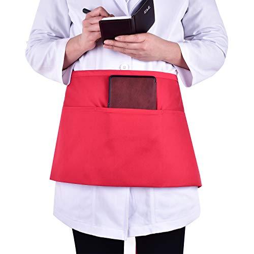 PANDAMED SCRUBS Taillen-Schürze mit 3 Taschen - Kellnerin/Kellner-Server, halbe kurze Schürzen, Küche, Restaurant für Damen, Herren, Server 61 x 30,5 cm, für Server Buch oder Gästekarten Free Size rot -