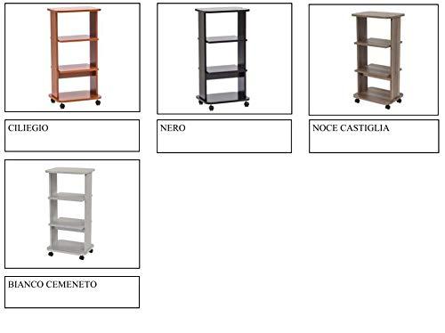 Relax e Design Mobile Carrello Porta TV, Stampante, Hi-Fi, ed Altro, Vari Colori, H.90 L.44 P.34 (Ciliegio)