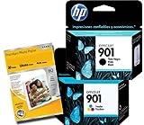 2 x Cartouche d'encre pour Imprimante HP 901 - Noir+Couleur pour HP Officejet J4524 J4535 J4580 J4624 J4660 J4680 G510a G510g G510n + Premium Glossy Photo Papier - 4x6 - 20 feuilles