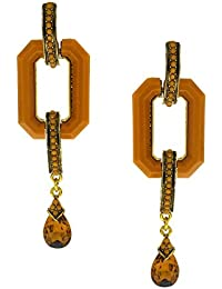 Anuradha Art Rust Colour Designer Wonderful Party Wear Fancy Long Earrings For Women/Girls