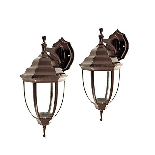 XHJJDJ Outdoor Wandleuchten 2 Stück Außen Veranda Haustür Garage Balkon Wetterfeste Außenwandleuchten Laterne Beleuchtung (Farbe : Bronze) (Base-klar, Gerät-glühbirne)