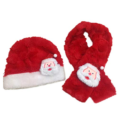 BESTOYARD Weihnachtsmütze und Schal Santa Claus Warm Plüsch Hut Schal Festival Kostüm für Baby Kids (Red)