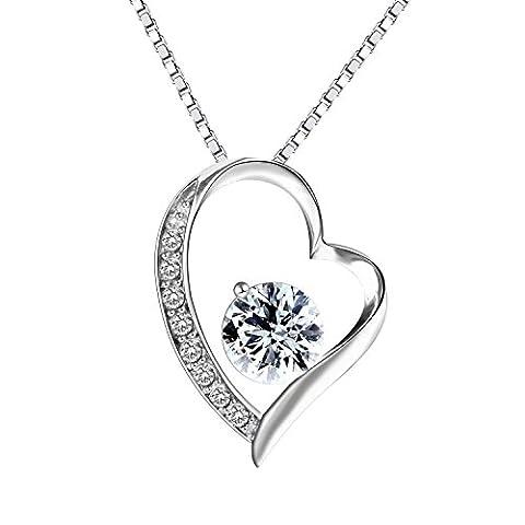 Sterling Silber Herzförmige Halskette mit weißen Zirkonia Steinen & 18'' Schmuckschatulle (Weiß)