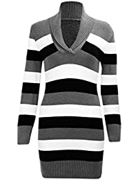N38 CELEBMODELOOK NEW WOMENS LADIES KNITTED STRIPED V-NECK JUMPER IN PLUS SIZE 08-22.