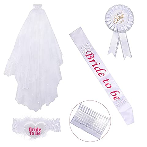 Wartoon Bridal Wedding White Veil with Comb and Bride to