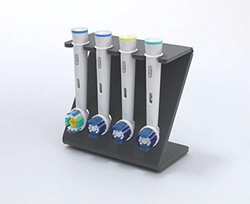 Plastic Online Ltd Elektrische Zahnbürsten-Ständer für 4x Bürstenköpfe, in verschiedenen Farben erhältlich Dark Grey (Matt)