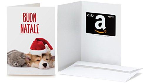 Buono Regalo Amazon.it - €150 (Biglietto d'auguri Gatto e Cane di Natale)