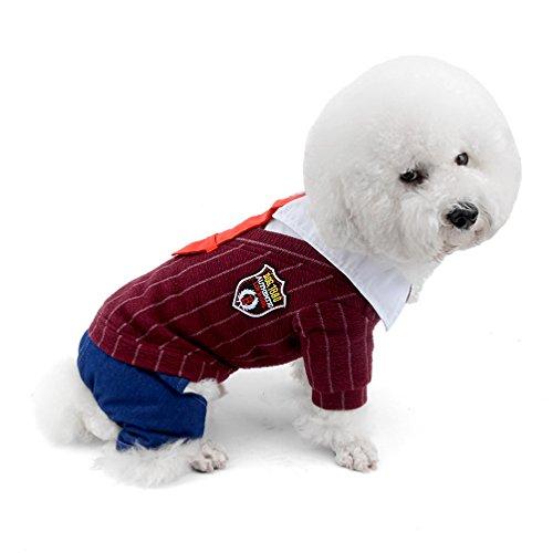 selmai Kleine Hunde Overall Fleece gefüttert Preppy Style Rot Krawatte Puppy Schneeanzug four-legs Hose Pyjama Winter Warm Pet Chihuahua Kleidung Apparel Outfits kaltem Wetter Mänteln