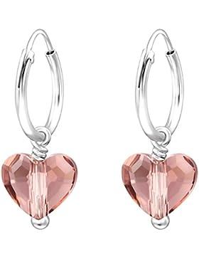 JAYARE Kinder Herz Creolen 925 Sterling Silber Swarovski Elements 22 x 8 mm Mädchen Herzen Ohrringe im Geschenketui
