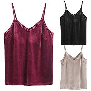cinnamou Tanktop Rosa,Red Tanktop,Gym Tanktop Herren,Frauen Casual Basic Riemchen Samt mit V-Ausschnitt Solide Cami Tank Tops Bluse