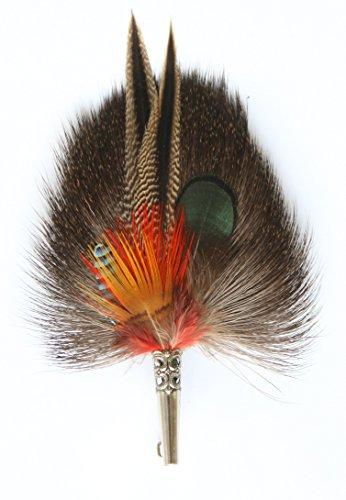Echte Hutfeder | Hutanstecker – von Ente, Fasan, Eichelhäher, Rehfell - Handgemacht -Accessoir für den Trachtenhut – Inkl. Hülse – 12 x 7 cm