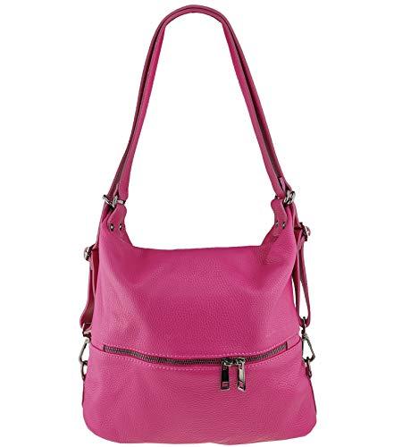 Freyday 2in1 Handtasche Rucksack Designer Luxus Henkeltasche aus 100% Echtleder (Pink)