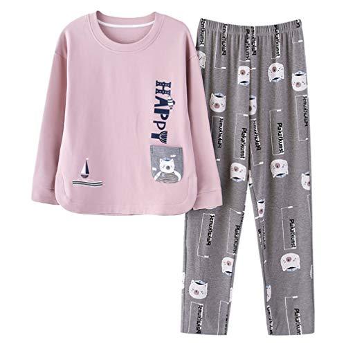 RGHOP Pyjamas Damen Baumwolle Langarm Hosen Cartoon Set Casual Home Service Hersteller Großhandel, A, L -