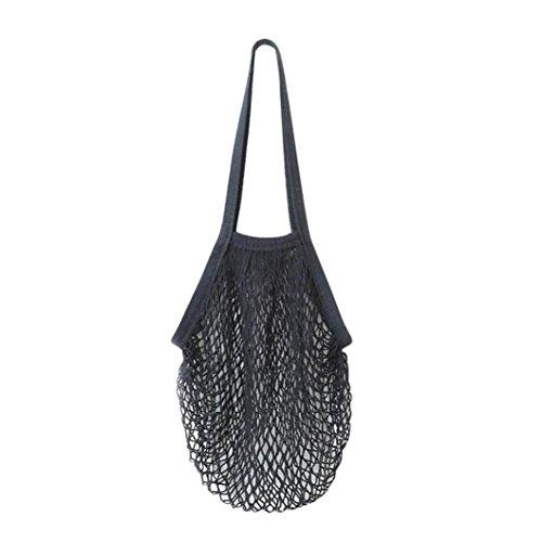 Damen Shopper Taschen FORH Frauen Einkaufstaschen Netze Tasche aus Baumwolle Tote Mesh Woven Net Umhängetasche für Sandspielzeug, Obst, Gemüse,Shopping Wiederverwendbar (Schwarz) (Shopper Woven)