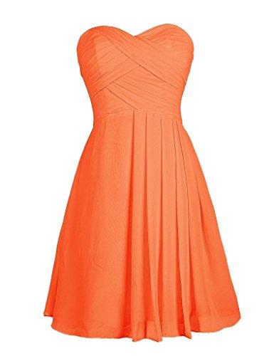 Eudolah Robe courte bustier de soirée cérémonie avec effet plissé sur le devant Femme Orange