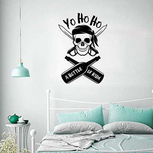f Vinyl Wandtattoos Yo Ho Ho Design Wohnkultur Vinyl Wandkunst Eine Flasche Rum Wandaufkleber Poster Jungen Zimmer Kunst 39 * 57 cm ()