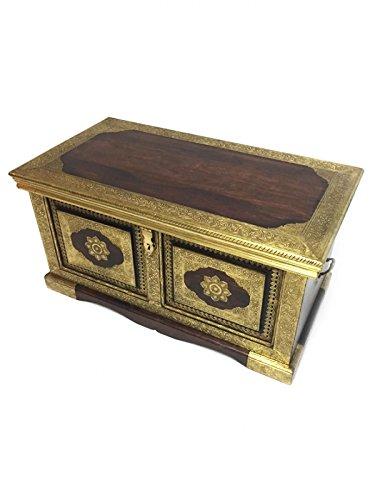 Orientalische Truhe Kiste aus Holz Zarifah 90cm groß mit Messing | Vintage Sitzbank mit...