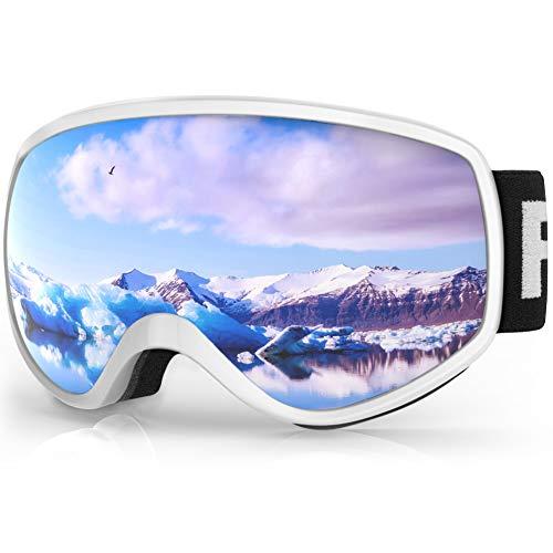 findway Skibrille Kinder, Snowboardbrille Helmkompatible Schneebrille Verspiegelt 100{457fb0410ba9a8d09cb5f86efa1a250e1395efe6dd1aafac33c0b69ca4caf096} UV-Schutz Anti-Nebel Kinder Skibrille für Jungen Mädchen 3-8 Jahre Skifahren Skaten Snowboarden