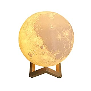 Asosmos 3D Druck Mond Lampe Moonlight Kunst Mondlampe Nachtlampe Wiederaufladbare 2 Farbwechsel Schalter Nachtlicht Eingebaut Batteriebetrieben Dekoration Geschenk 9CM 10CM 12CM 15CM 18CM 20CM