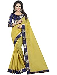 Vastrang Women's Chanderi Cotton Saree With Blouse Piece(1311HATMHD_Mehandi Green_Free Size)