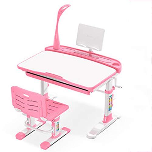 LJHA Korrektiv Stuhl Stuhl Lift Computer Hocker Kinder lernen Home Swivel Stuhl Sitzhaltung Korrektur Student Schreibtisch Stuhl Tabelle und Stuhl Set 2 Farben Optional Tabelle (Farbe : Pink)