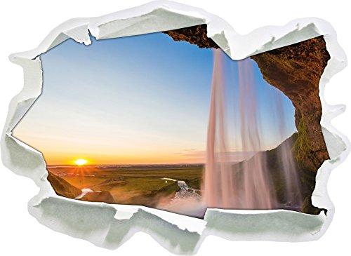 Grande cascata al tramonto, di carta 3D autoadesivo della parete formato: 92x67 cm decorazione della parete 3D Wall Stickers parete decalcomanie