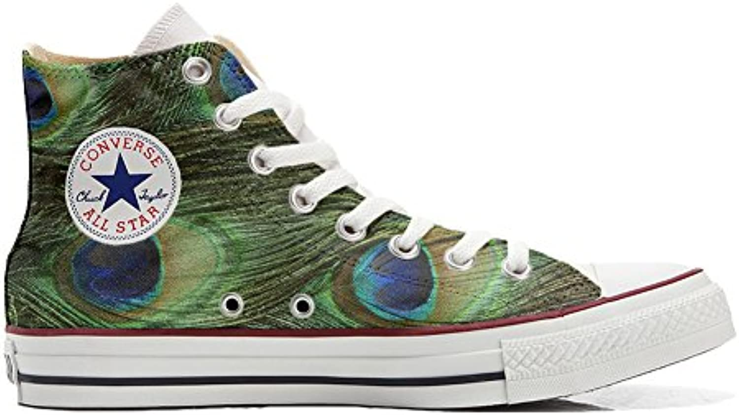 Shoes Custom Converse All Star  personalisierte Schuhe (Handwerk Produkt) Pfau
