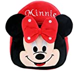 Blue Tree School Bag For Kids/Girls/Boys/Children Plush Soft Bag Backpack Minnie Cartoon Bag Gift For Kids Cartoon Toy Cute Birthday Return Gift/ School Bag/ Travelling Carry Picnic Bag/ Teddy Bag For Children (Red_3 To 5 Year)