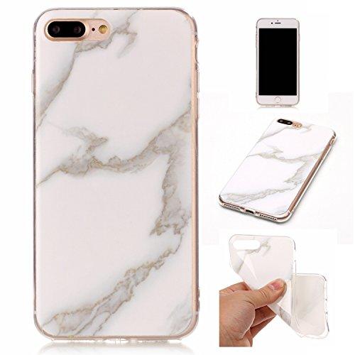 iPhone 7 Plus Coque (Marbre), iPhone 7 Plus Coque Transparente Silicone en Gel Tpu Souple, Housse Etui Coque de Protection avec Absorption de Choc et Anti-Scratch OUJD - Or noir, arbres couleur de rou Vert foncé, vert, jade blanc