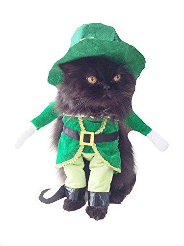 Disfraz adorable de duende verde irlandés para perros y gatos, ideal para el Día de San Patricio o Halloween