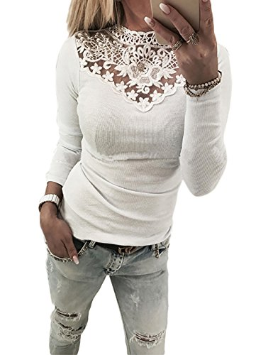 Boutiquefeel Damen Lace Splicing Langarm Patchwork T-Shirt Tunic Bluse Oberteile Weiß XL