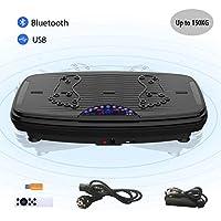 ISE Fitness Plateforme Vibrante Oscillante avec Bluetooth,USB,Télécommande,Grande Surface Anti-Dérapante 74x42 cm avec 2 Bandes de Résistance, 5 Programme & 99 Niveaux de Vitesse,Max.150KG,SY-329 Noir