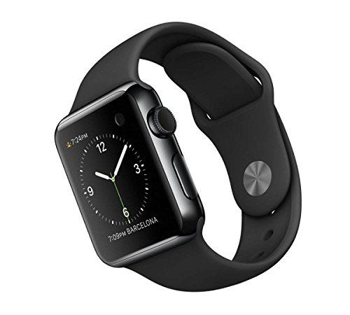 Apple Watch 38 mm - Smartwatch iOS con caja de acero inoxidable en negro espacial (pantalla 1.32