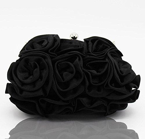 Elegante Donna Borsa di Sera del Fiore Nuziale Borsa del Partito della Frizione da Damigella D'onore Nero