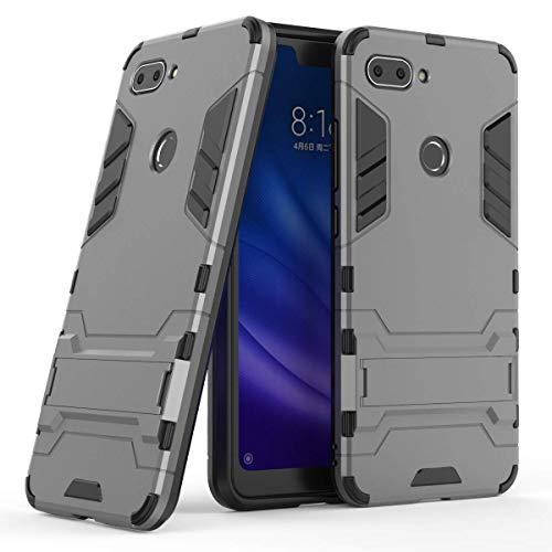 AOYIY Funda Xiaomi Mi 8 Lite,Case,Estuche híbrido Robusto de Doble Capa [a Prueba de Golpes] Xiaomi Mi 8 Lite[Compatible con Protector de Pantalla] -Gris