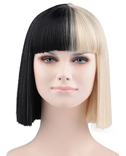 Sia schwarz & blond Perücke/Haar - Kinder Cruella Deville Perücke