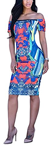 SunIfSnow Women Bodycon Slash Neck Blue Floral Bandage Party Night Club Dress (Tiered Circle)