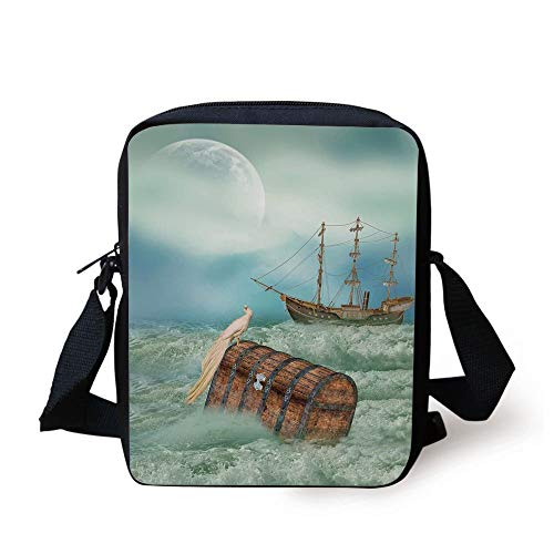 Fantasy,Antique Old Trunk in Ocean Waves with Magic Bird Pirate Boat Picture,Mint Green Light Caramel Print Kids Crossbody Messenger Bag Purse - Pictures Bird Antique