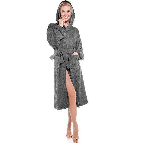 aqua-textil Bademantel Baumwolle für Damen Herren mit Kapuze, Frottee Sauna-mantel, Föhr uni, Sylt zwei-farbig Morgenmantel weich und super flauschig, Bath-robe Waden lang XS bis XXXL, Anthrazit, 3XL