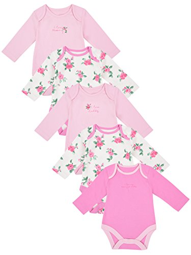 Mothercare Baby Girls' Bodysuit (Pack of 5)(MC092-1_Multicoloured_9-12 Months)