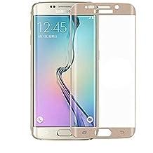"""Protector de pantalla vidrio templado para Samsung Galaxy S6 Edge """"Pantalla completa"""" DORADO (Cubre la zona curva de la pantalla).  Grosor 0,2mm con alta resistencia a impactos. Perfecto ajuste sin dejar zonas sin cubrir. No se forman burbujas"""