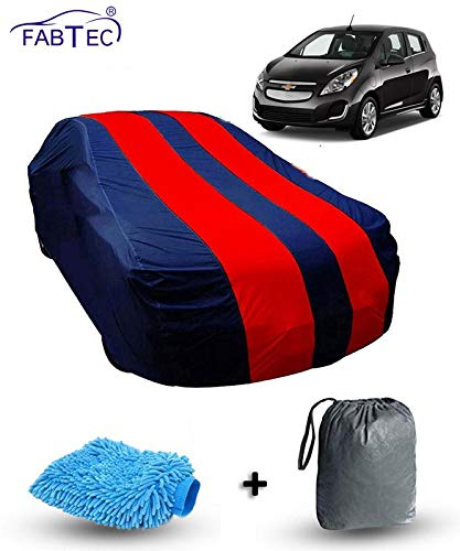 Fabtec Car Body Cover for Chevrolet Beat with Storage Bag + Microfiber Glove Combo! (Red & Blue)