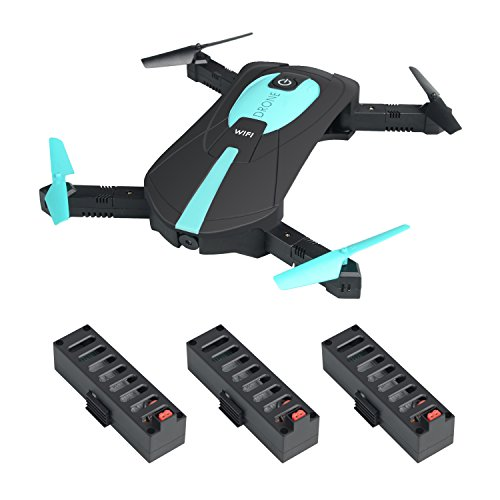 JY018 Mini Selfie Faltbarer RC Quadcopter Drone mit Höhenhaltung FPV VR Wifi 2MP HD Kamera 2.4GHz 6-Achsen Gyro Headless Methodology A Key Reappear JY018 Drone (JY018 drone+3 battery+USB-Ladegerät)