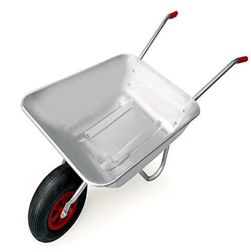Schubkarre 100 kg, verzinkt, für Garten und Stall, 80 Liter, Luftreifen - 3