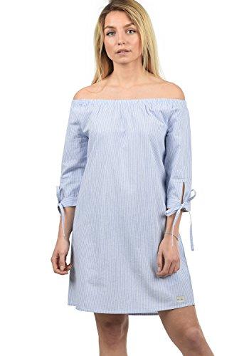 BlendShe Ophelia Damen Freizeitkleid Kleid Mit Off-Shoulder Carmen- Ausschnitt Aus 100% Baumwolle Knielang, Größe:L, Farbe:Light Blue Stripe (20248)
