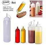 Youbeautify 2pcs Plastik Flasche Küche Squeeze Flasche Küche Plastik Weiße nachfüllbare Condiment Squeeze Flasche aus Kunststoff für Essig-Creme-Honig-Salat