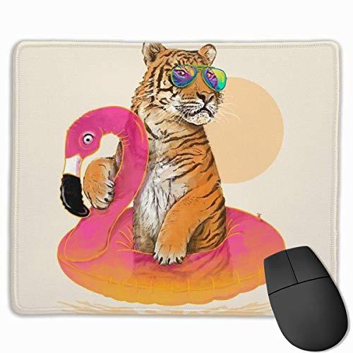 Luancrop Gaming Mouse Pad Sonnenbrille Tiger Flamingo Schwimmen Wasserring Mauspads Matte Mousepad mit Rutschfester Gummiunterlage für Computer Laptop Home Office Game Desk