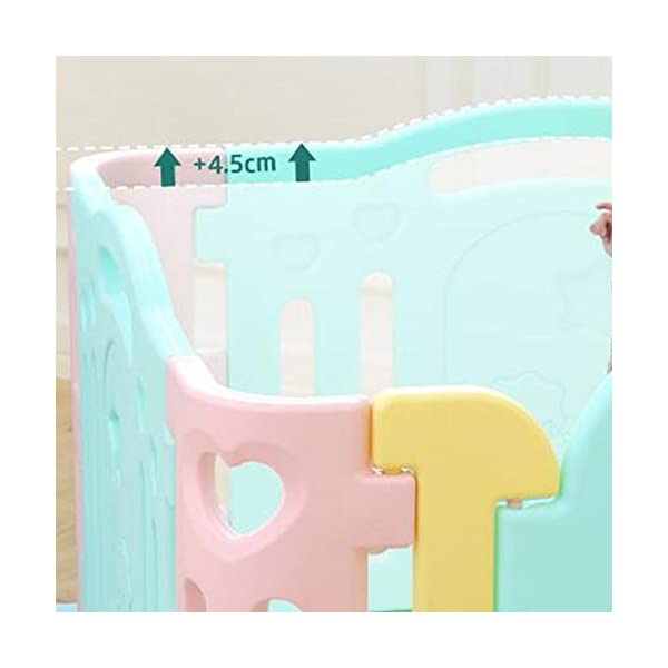 MEI XU Indoor Baby Playpens Children's Fence Guardrail Learning Walking Fence Indoor Safety Guardrail ABS Material (Size : 215 * 215 * 64.5cm) MEI XU COVERS A LARGE AREA: It is a great amount of space for baby to learn walk and even laying with baby in it for play time. EASY TO ASSEMBLE: It is lightweight, easy to put together and take down, without 15 mins. SAY NO TO ANIMAL PEN: Bright and colorful design make the fence look more lovely in order to attract children and energize their mood automatically. 3