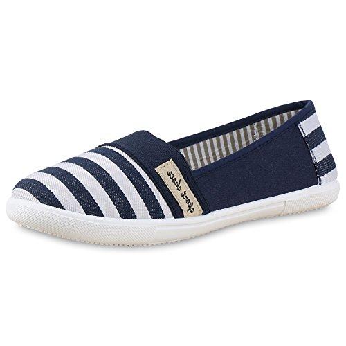 Damen Slipper Metallic Slip-ons Ballerinas Freizeit Schuhe Flats Blau